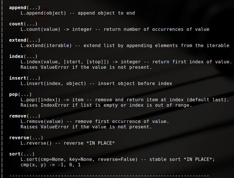 Python中的基本list操作